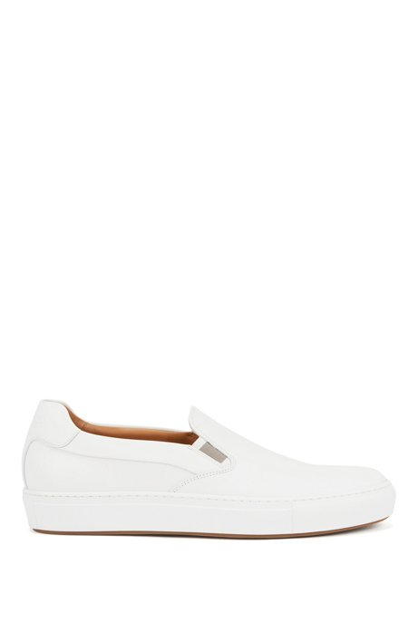 Italian-made slip-on sneakers in burnished leather, White