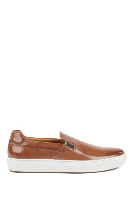 Italian-made slip-on sneakers in burnished leather, Khaki