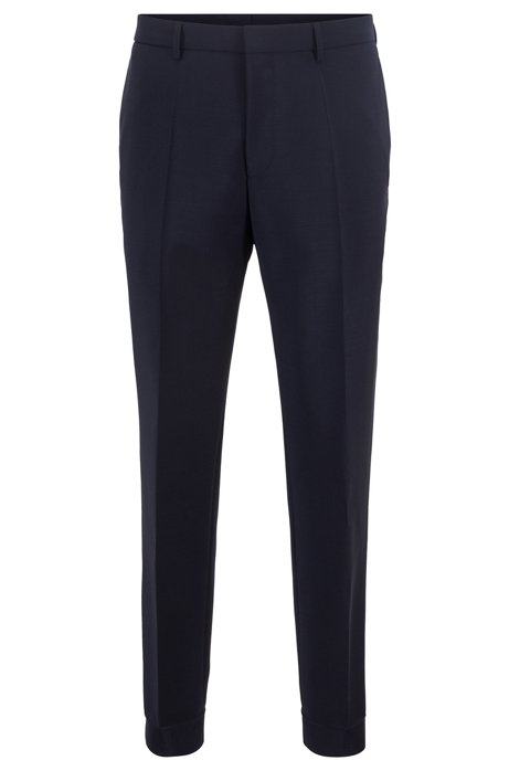 Slim-fit pants in mixed wools with side stripe, Dark Blue