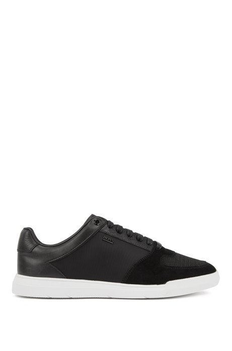 Low-top trainers in hybrid materials, Black