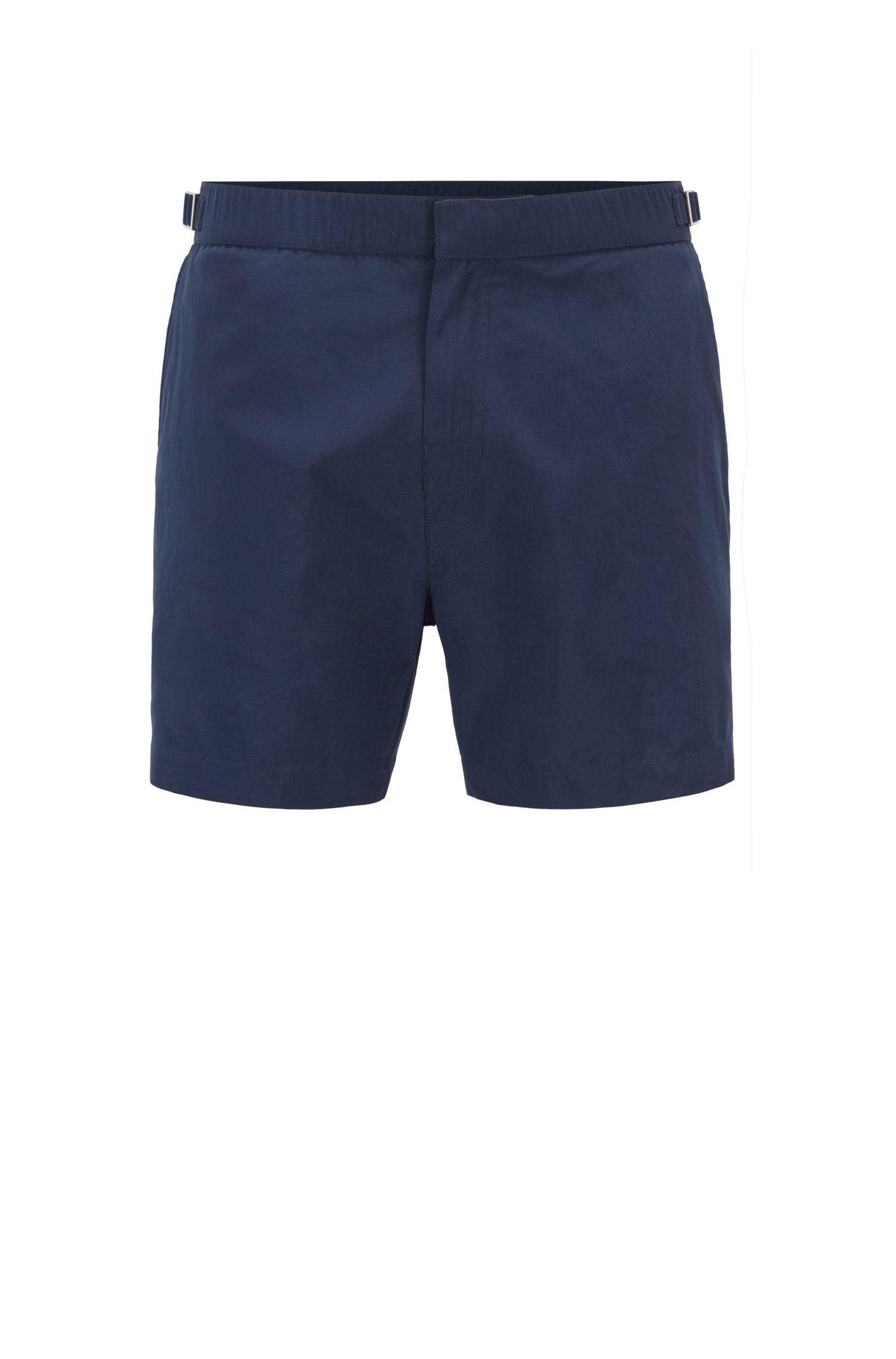 Quick-dry printed swim shorts with waistband adjusters, Open Blue