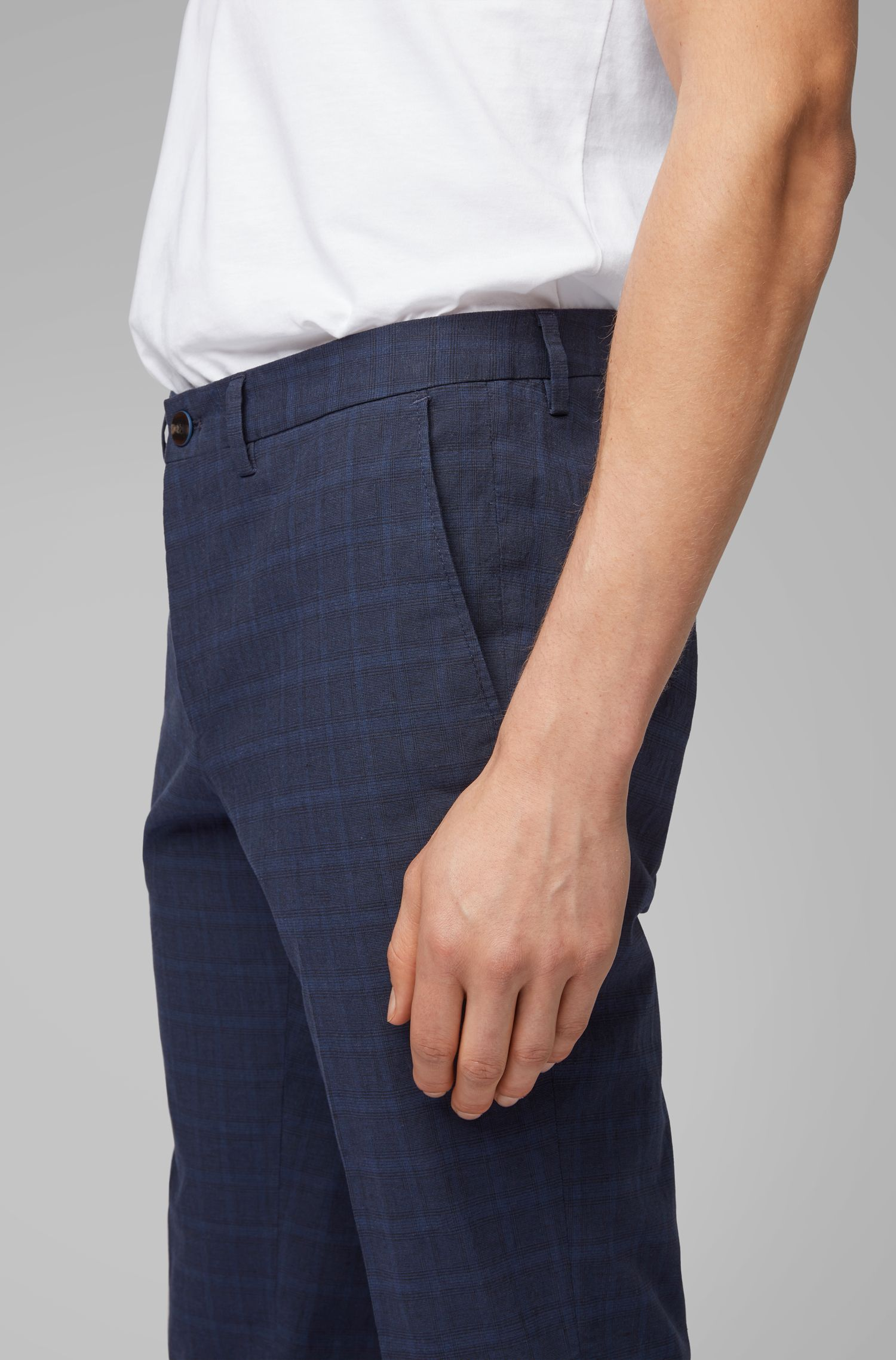 Extra-slim-fit pants in a plain-check cotton blend, Dark Blue