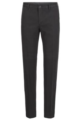 Slim-fit pants in washed stretch cotton, Black