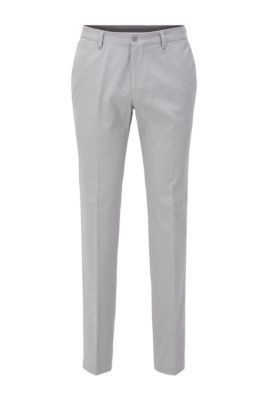 Slim-fit pants in washed stretch cotton, Light Grey