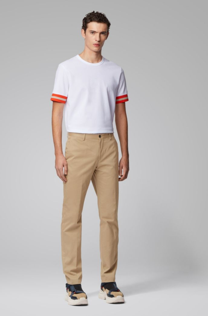 Slim-fit pants in washed stretch cotton