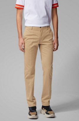 Slim-fit pants in washed stretch cotton, Light Brown