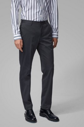 Slim-fit pants in washed stretch cotton, Light Blue