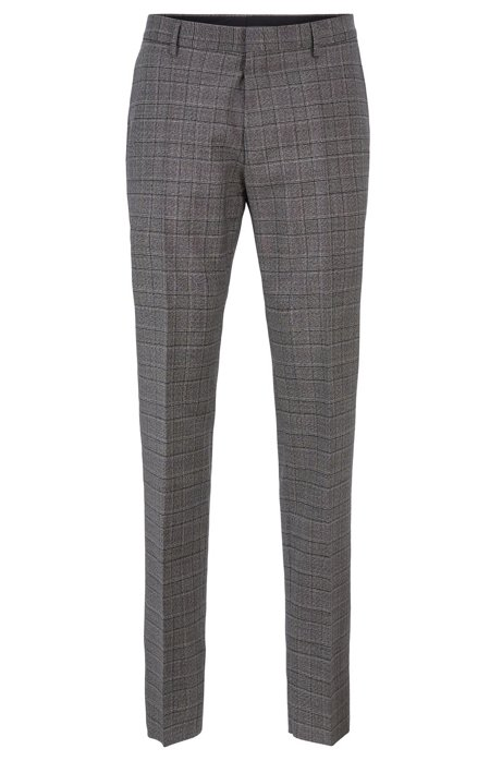 Slim-fit pants in checkered virgin wool, Grey