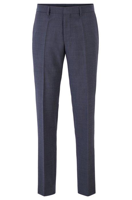 Slim-fit pants in melange wool with ribbed pocket trims, Light Blue