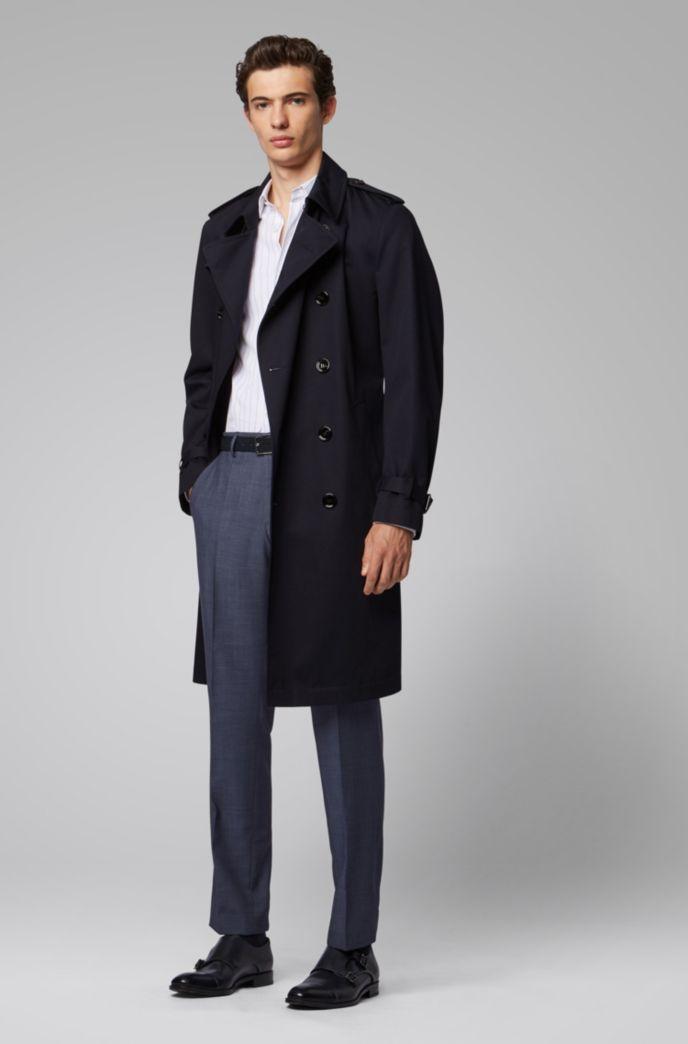 Slim-fit pants in melange wool with ribbed pocket trims