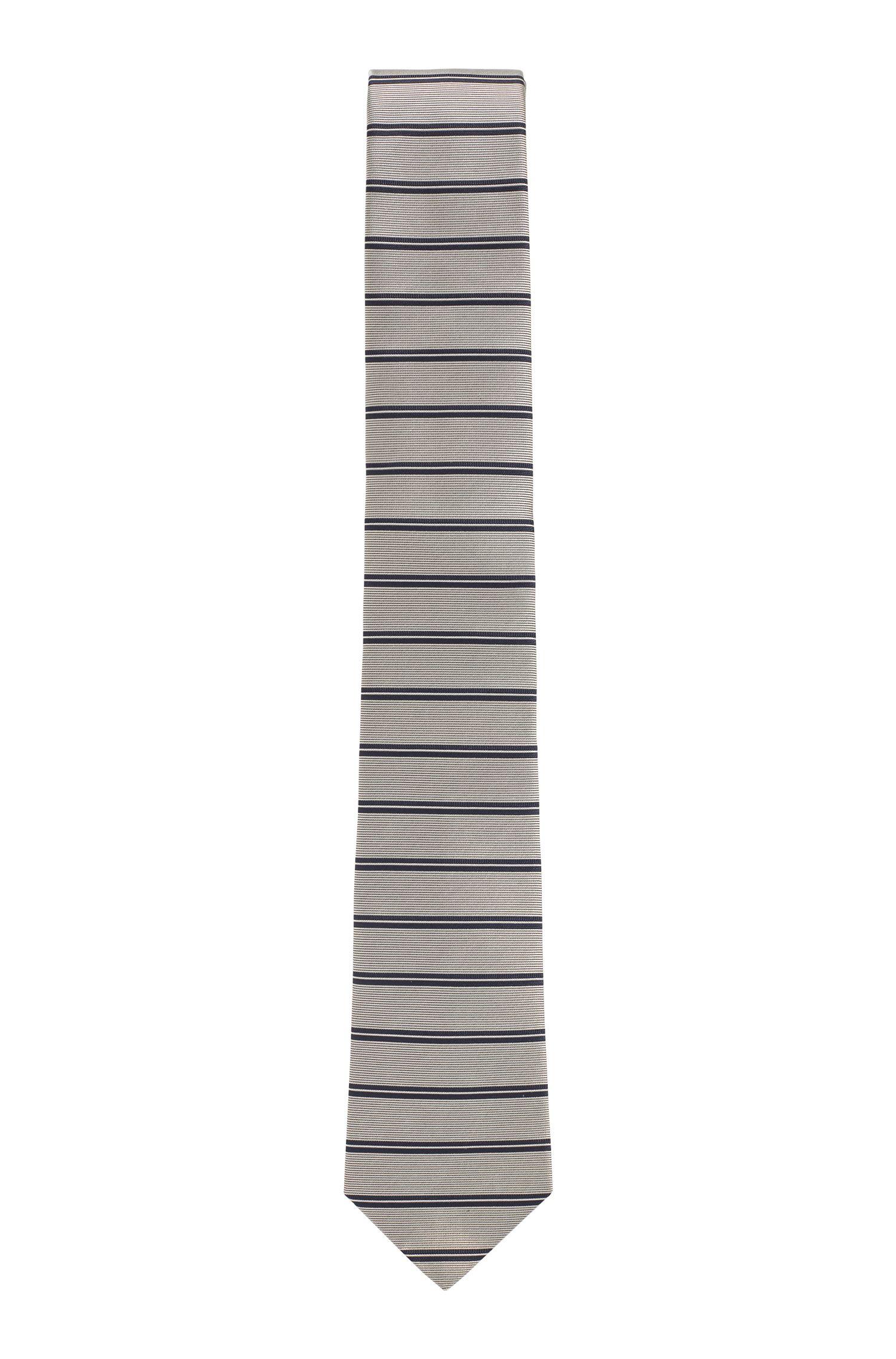 Handmade silk tie with horizontal stripes, Natural