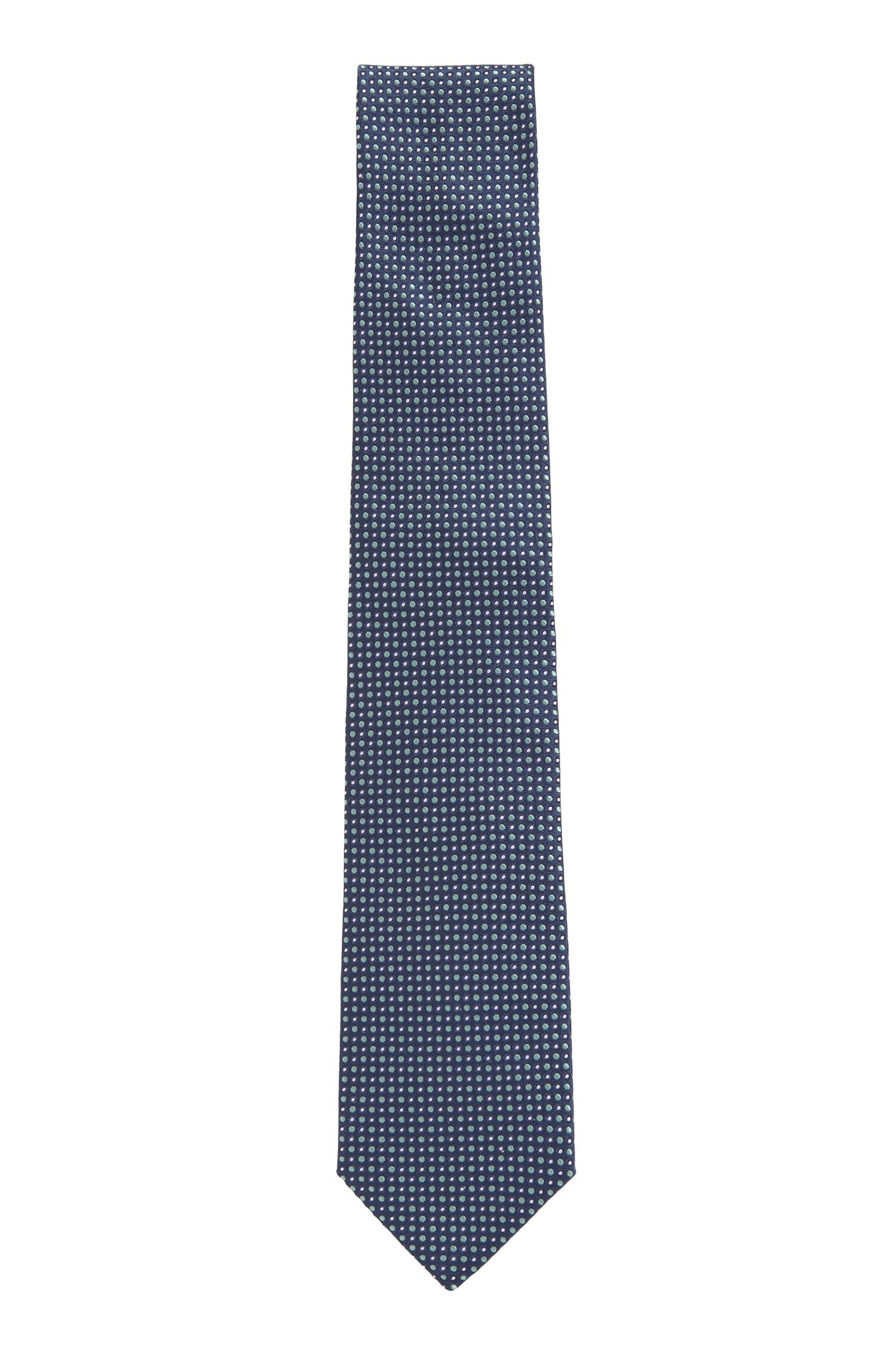 Italian-made silk tie with jacquard-woven micro pattern, Dark Blue