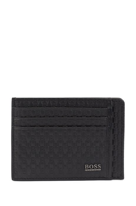 Monogram-printed card case in leather with metallic logo, Black