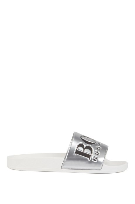Logo slides with metallic-finish strap, Silver