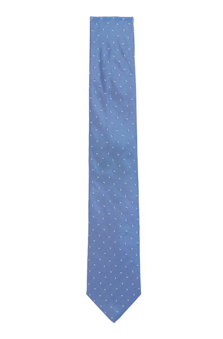 Italian-made tie in pure silk with micro motif, Light Blue
