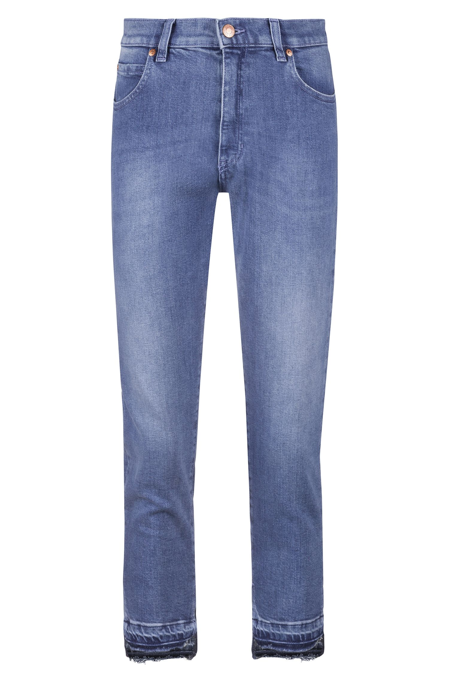 Regular-fit cropped jeans in Italian comfort-stretch denim, Turquoise