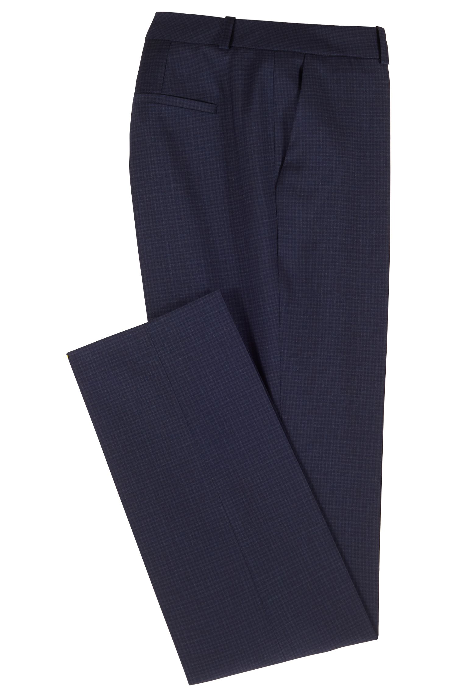 Slim-leg pants in checked virgin wool, Patterned