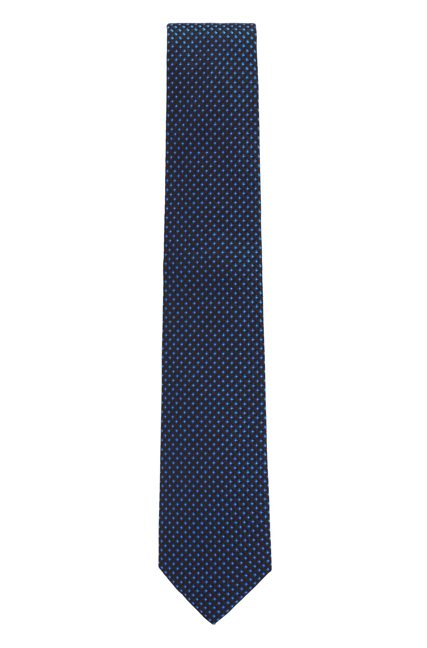 Italian-made tie in pure silk with micro pattern, Blue
