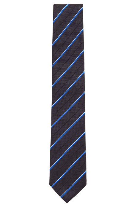 Silk tie in diagonal-striped jacquard, Blue
