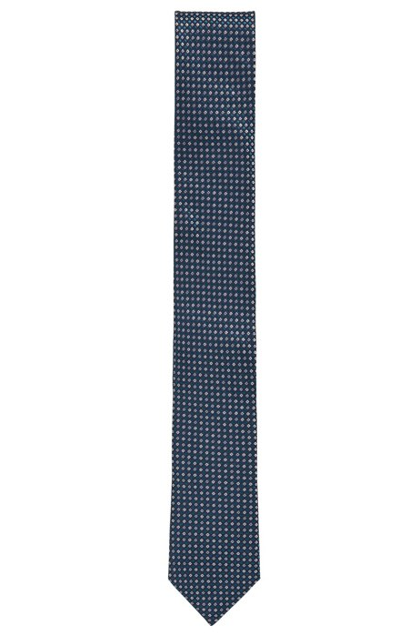 Italian-made patterned tie in silk jacquard, Green