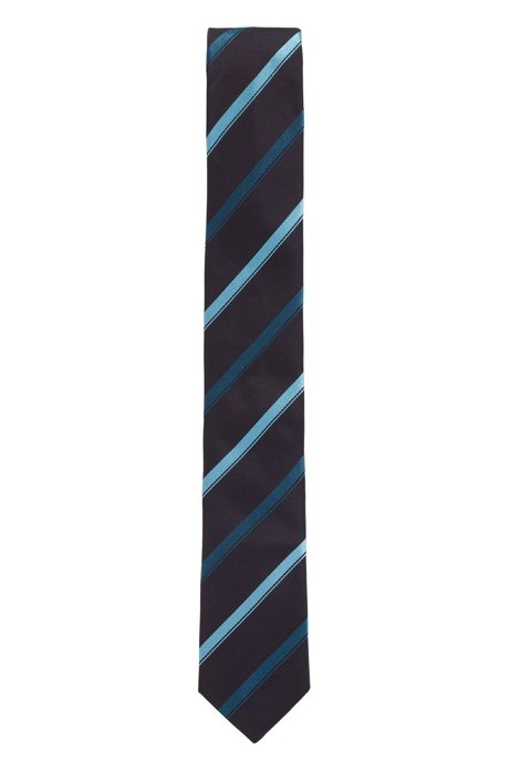 Italian-made silk tie with diagonal stripes, Dark Blue