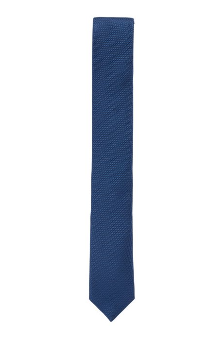 Italian-made tie in jacquard-woven silk, Blue