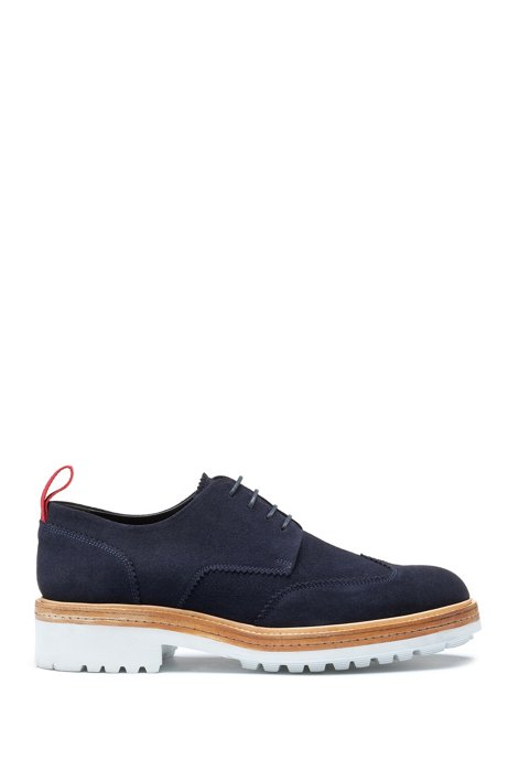 Derby shoes in suede with rubber lug sole, Dark Blue