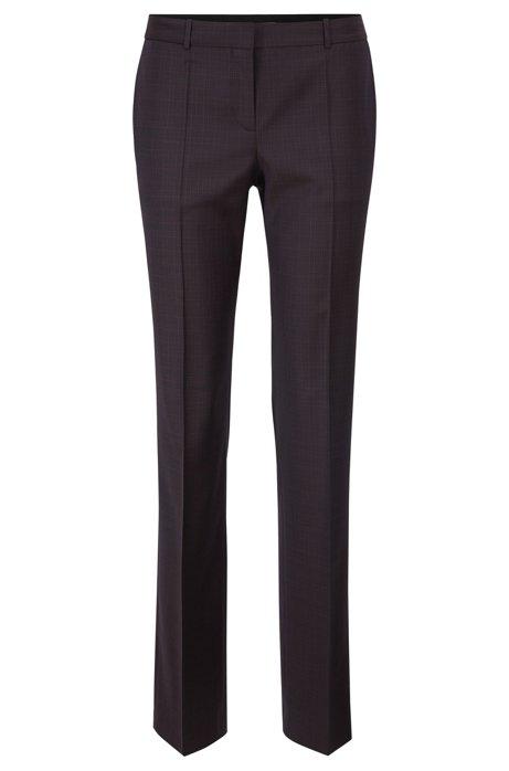 Regular-fit pants in checked Italian virgin wool, Patterned