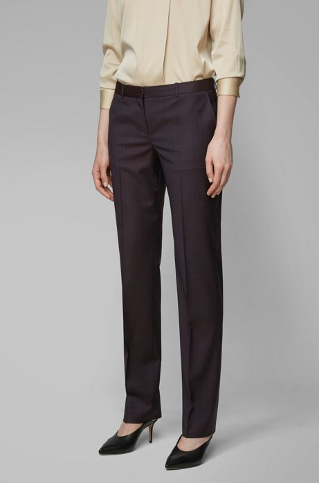 Regular-fit pants in checked Italian virgin wool, Patterned