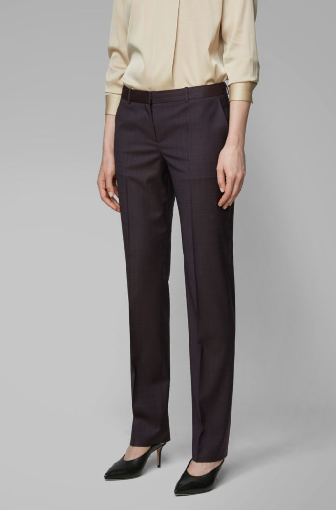 Regular-fit pants in checked Italian virgin wool