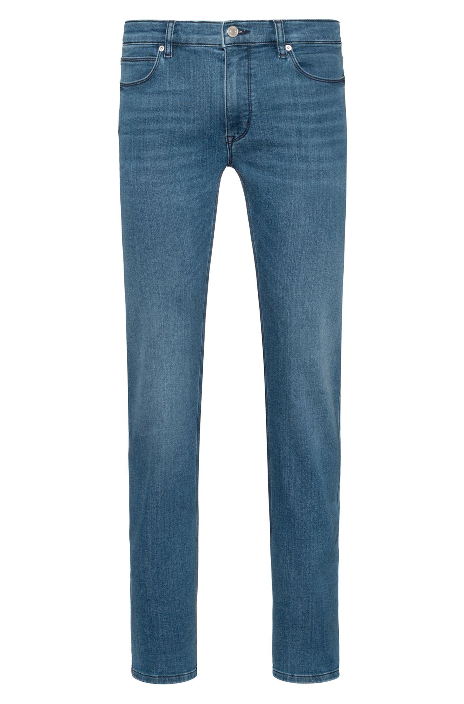 Slim-fit jeans in mid-blue stretch denim, Blue