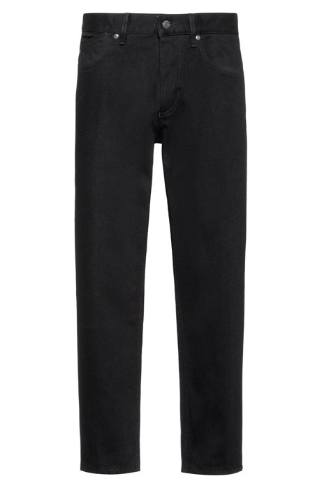 Cropped tapered-fit jeans in rinse-washed black denim, Black