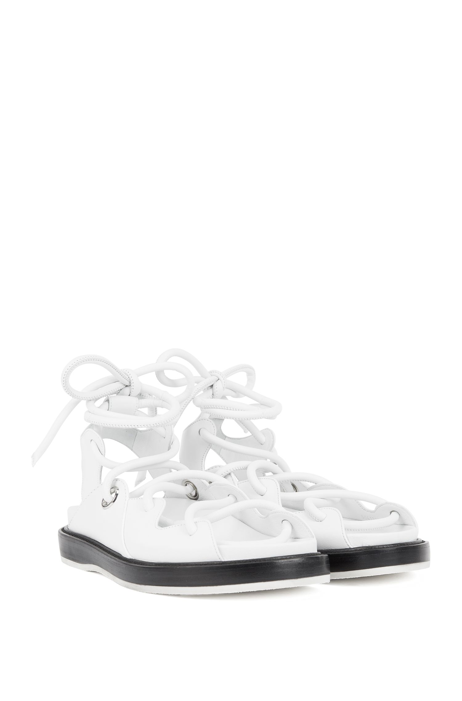 Flat leather sandals with contrast sole, White