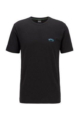 Cotton jersey T-shirt with curved logo, Black