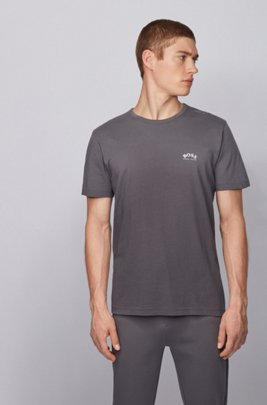 Cotton jersey T-shirt with curved logo, Dark Grey