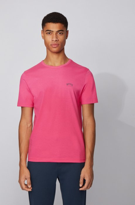 Cotton jersey T-shirt with curved logo, Pink