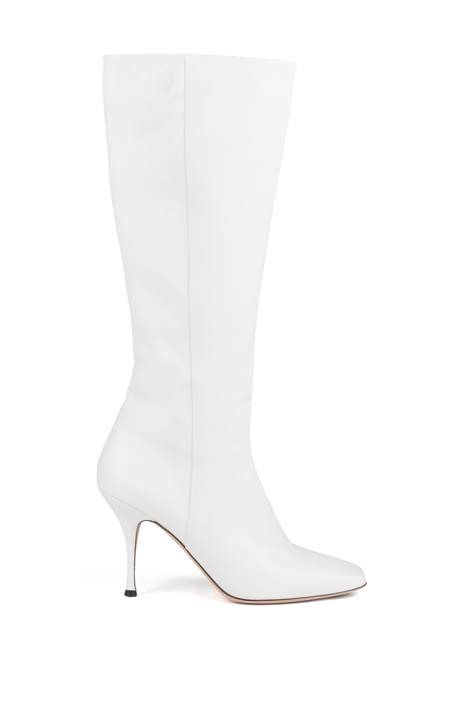 Knee boots in Italian lamb leather with sculpted heel, White