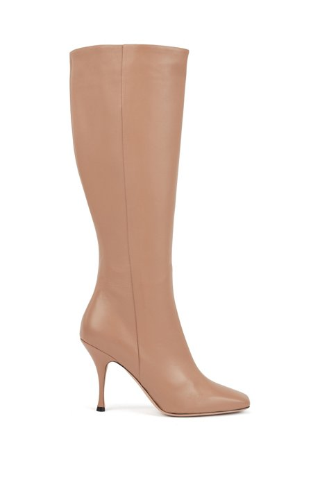 Knee boots in Italian lamb leather with sculpted heel, Beige