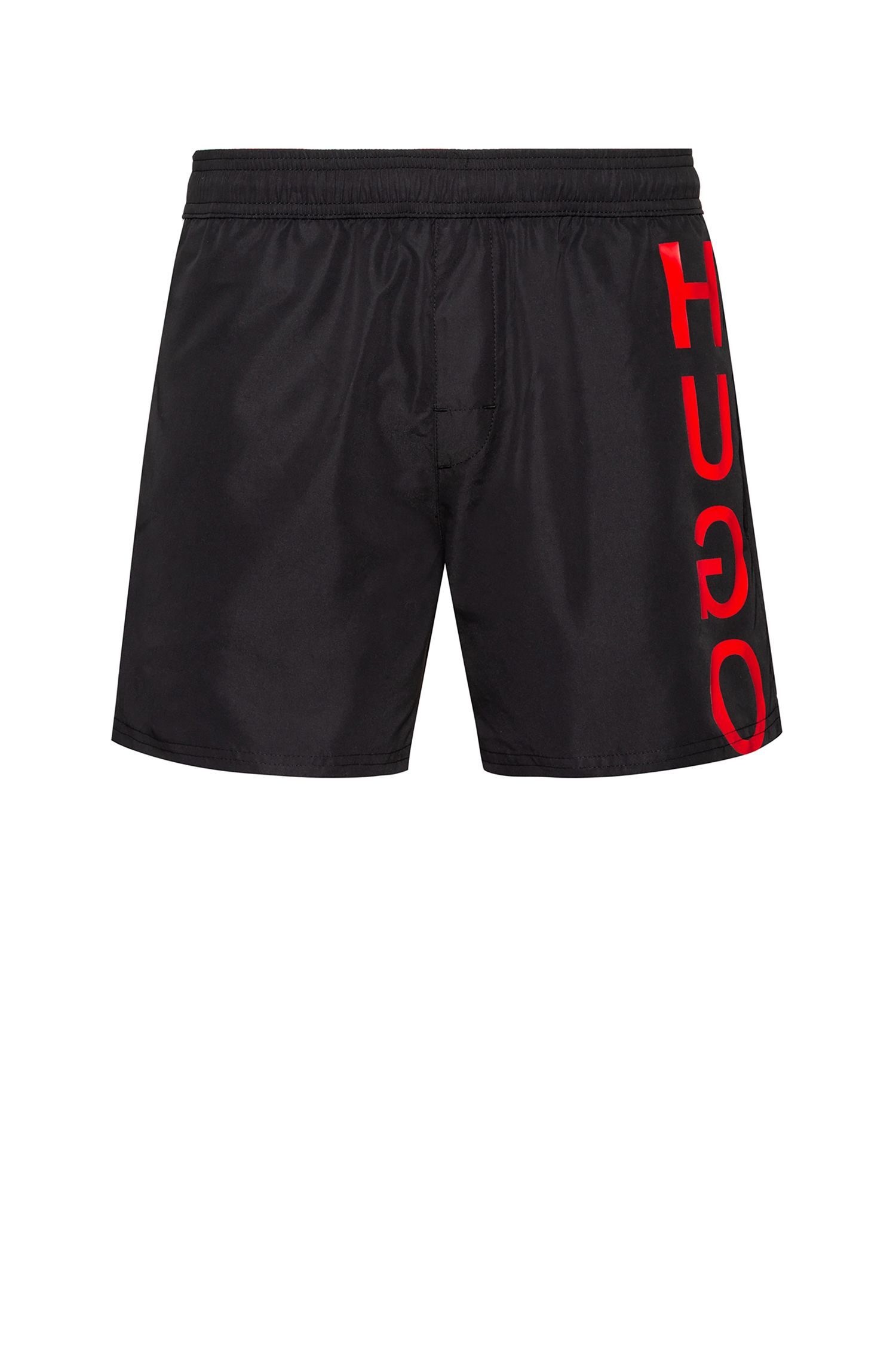 Quick-dry swim shorts with reverse logo, Black