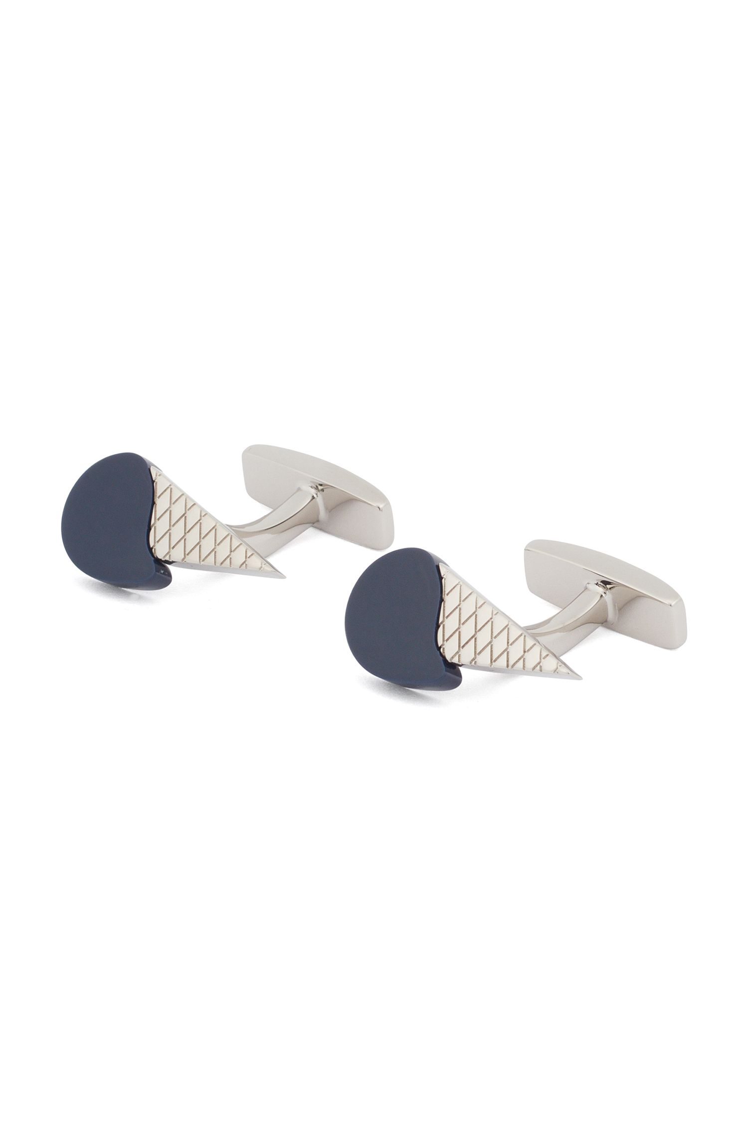 Hand-polished cufflinks with ice-cream design, Dark Blue