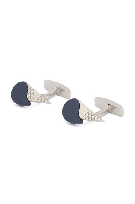 Hand-polished cufflinks with ice-cream design, Dark Blue