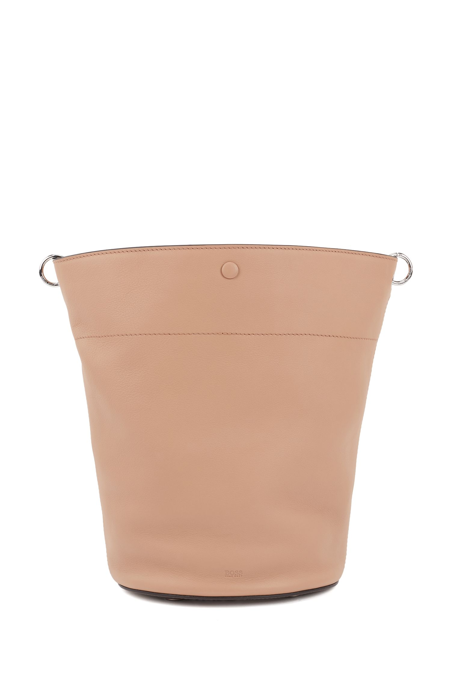 Bucket bag in calf leather with knotted top strap, Beige