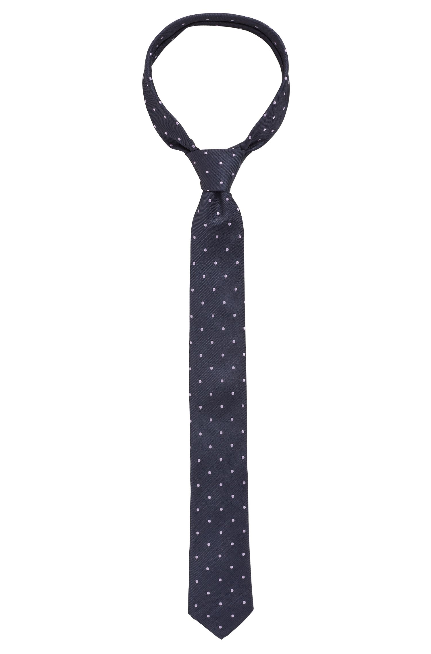 Italian-made silk tie with dot pattern, Light Purple