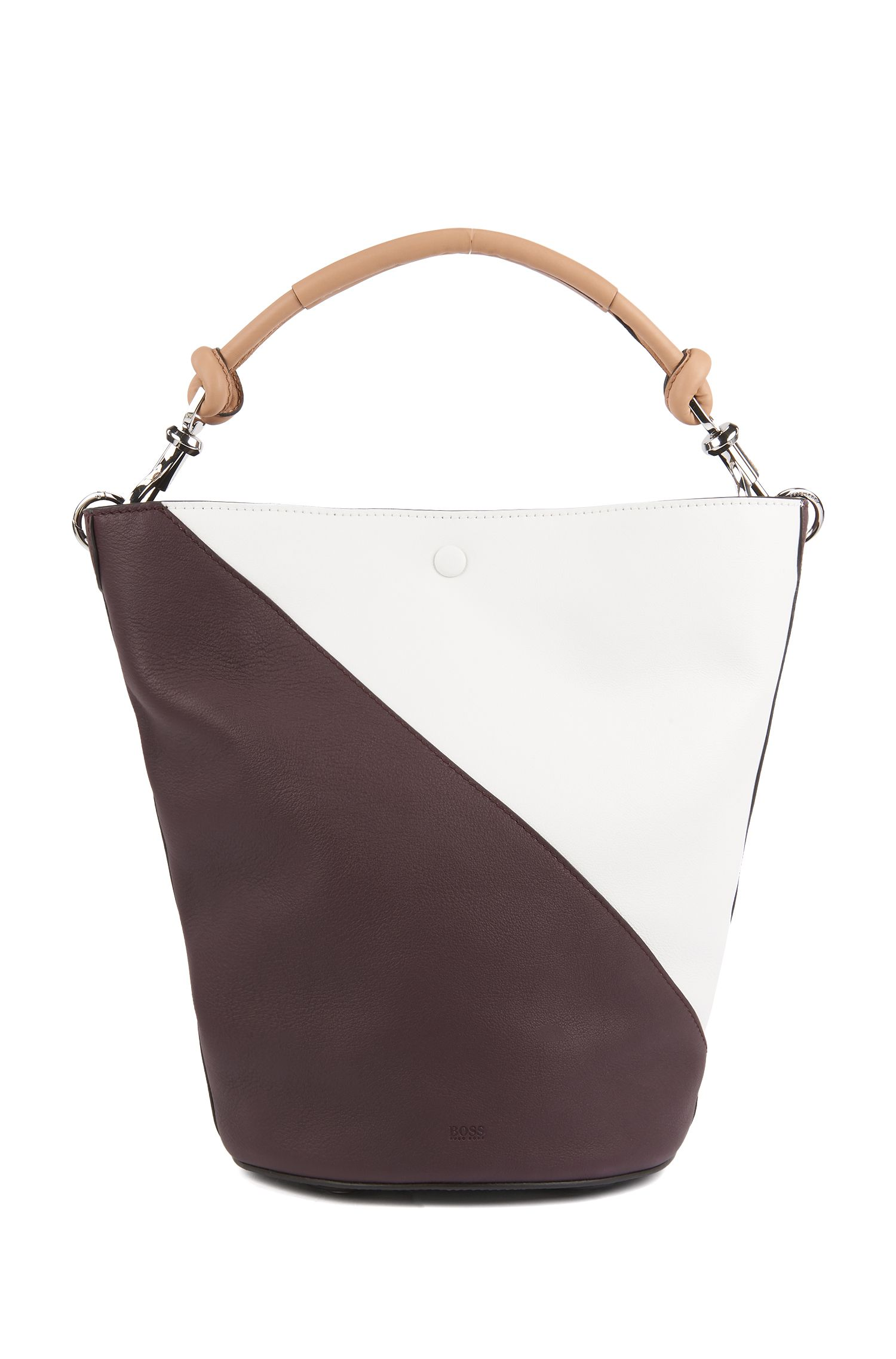 Colorblock bucket bag in soft leather, Dark Red