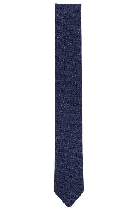 Unlined tie in hemp with virgin wool, Dark Blue