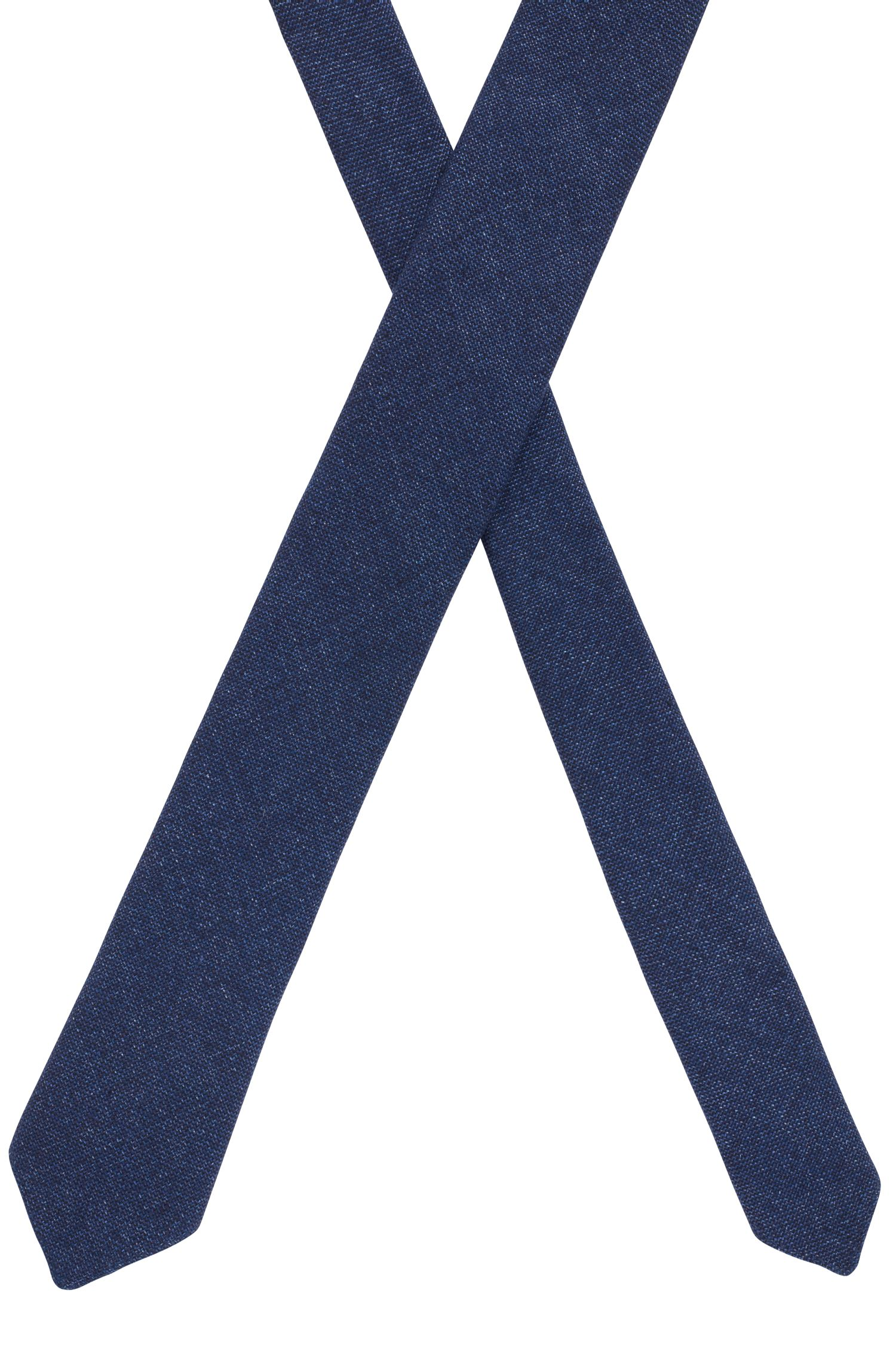 Unlined tie in hemp with virgin wool, Dark Blue