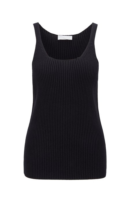 Fashion Show slim-fit sleeveless top in knitted fabric, Open Blue