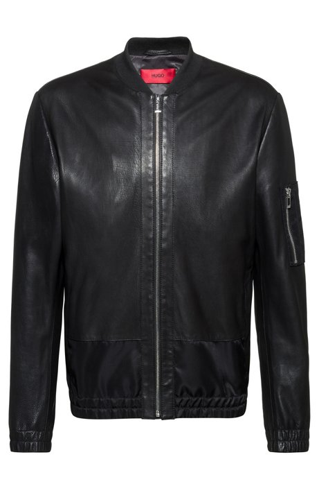 Slim-fit nappa-leather bomber jacket with tonal contrasts, Black