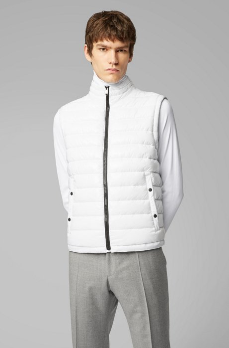 Water-repellent padded gilet with stand collar, White