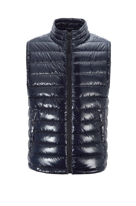 Water-repellent padded gilet with stand collar, Dark Blue
